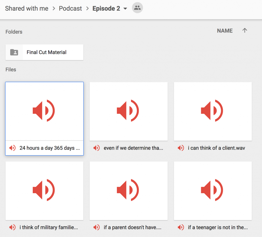 When you work on a podcast as a team, set up a shared workspace and repository for files.